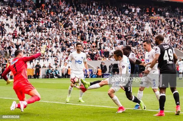 Goalkeeper Ramazan Lose of Kasimpasa AS Andre de Castro Pereira of Kasimasa AS Strahil Venkov Popov of Kasimpasa AS Vincent Aboubakar of Besiktas JK...