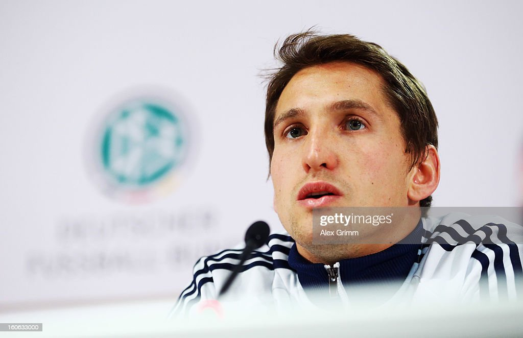 Goalkeeper Rene Adler attends a Germany press conference at Commerzbank-Arena on February 4, 2013 in Frankfurt am Main, Germany.