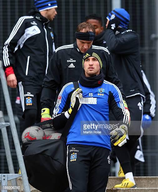 Goalkeeper Rene Adler looks on before the training session of Hamburger SV on January 11 2013 in Hamburg Germany