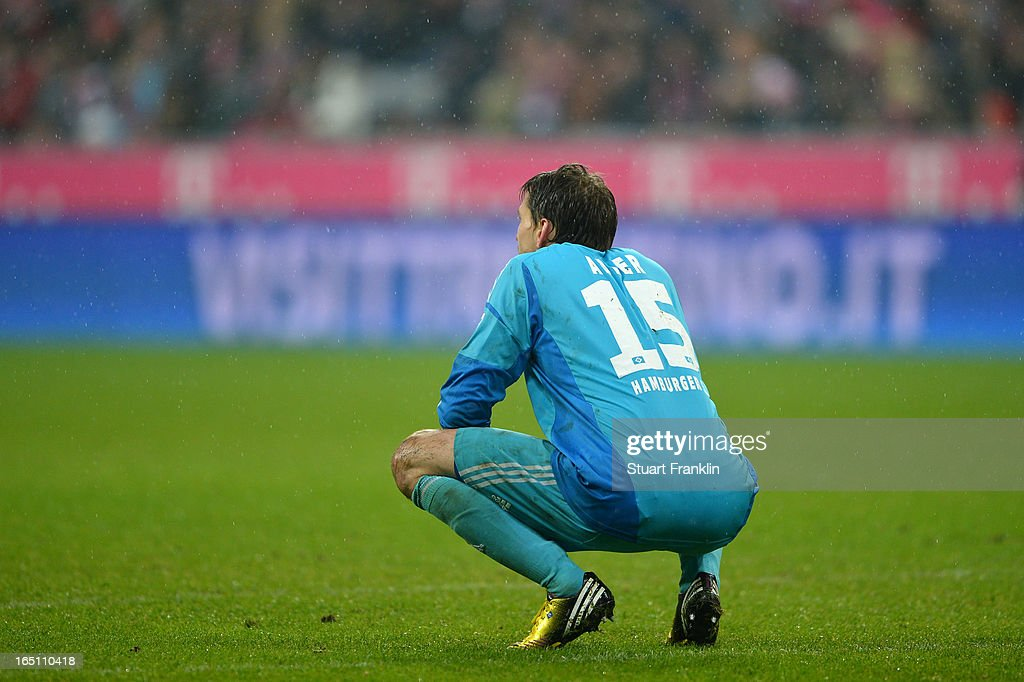 Goalkeeper Rene Adler of Hamburger SV is pictured during the Bayern Muenchen eighth goal during the Bundesliga match between FC Bayern Muenchen and Hamburger SV at Allianz Arena on March 30, 2013 in Munich, Germany.