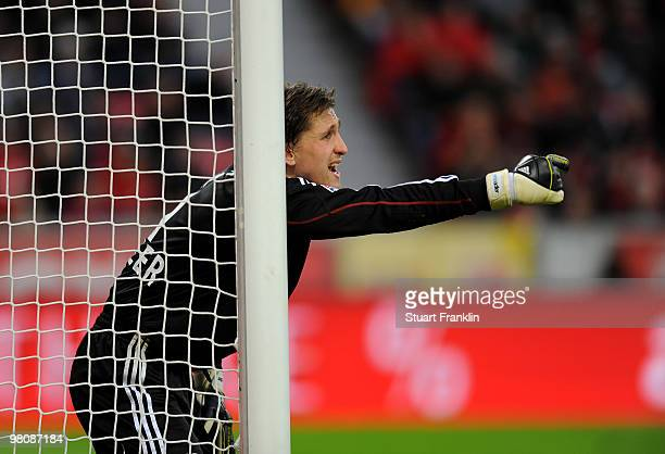 Goalkeeper Rene Adler of Leverkusen gestures during the Bundesliga match between Bayer 04 Leverkusen and FC Schalke 04 at BayArena on March 27 2010...
