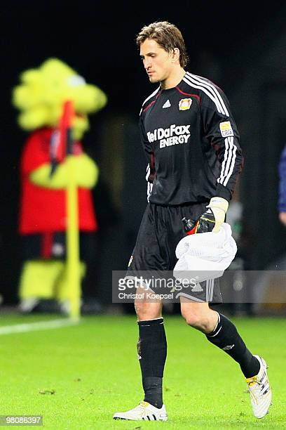 Goalkeeper Rene Adler of Leverkusen looks dejected during the Bundesliga match between Bayer Leverkusen and FC Schalke 04 at the BayArena on March 27...
