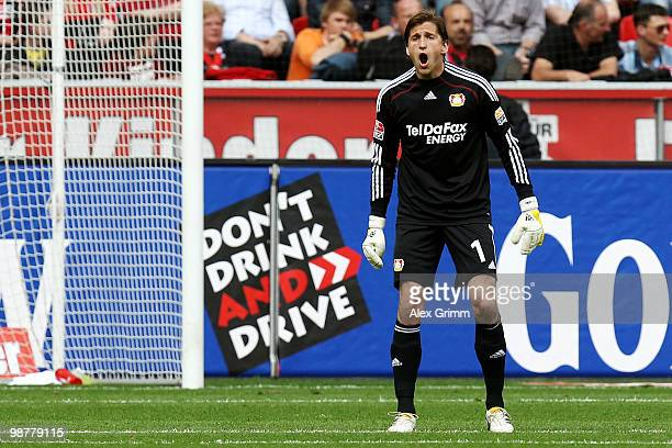 Goalkeeper Rene Adler of Leverkusen reacts after Raffael of Berlin scored his team's first goal during the Bundesliga match between Bayer Leverkusen...