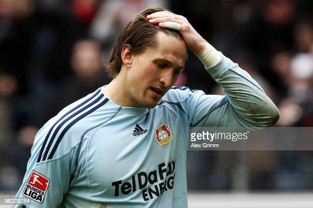 Goalkeeper Rene Adler of Leverkusen reacts after the Bundesliga match between Eintracht Frankfurt and Bayer Leverkusen at the Commerzbank Arena on...