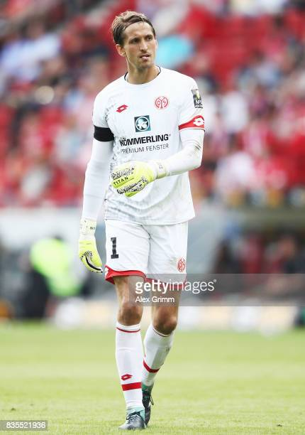 Goalkeeper Rene Adler of Mainz reacts during the Bundesliga match between 1 FSV Mainz 05 and Hannover 96 at Opel Arena on August 19 2017 in Mainz...