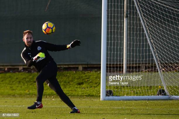 Goalkeeper Rob Elliot kicks the ball into play during the Newcastle United Training session at the Newcastle Untied Training Centre on November 16 in...