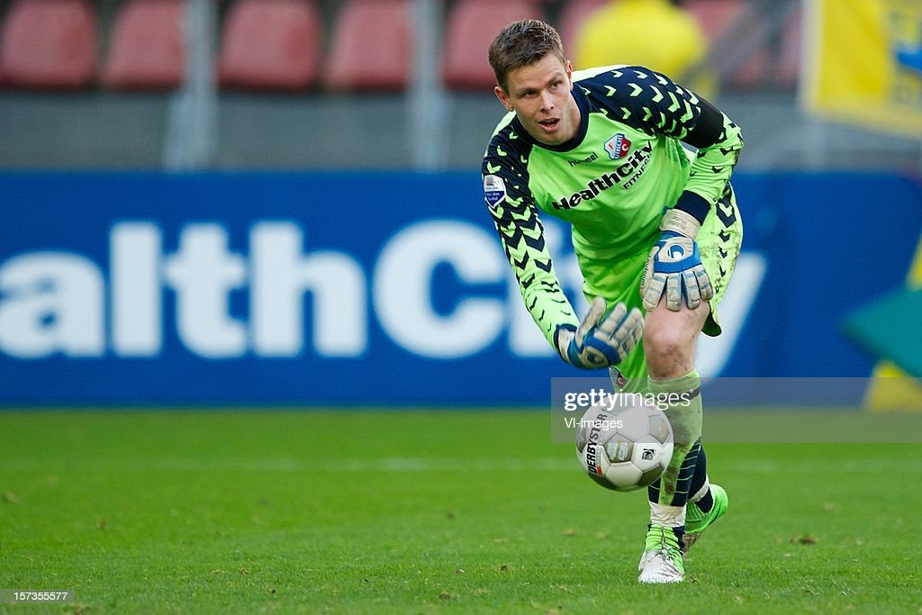 goalkeeper Robbin Ruiter of FC Utrecht during the Dutch Eredivisie match between FC Utrecht and AZ Alkmaar at the Galgenwaard Stadium on December 02, 2012 in Utrecht, The Netherlands.
