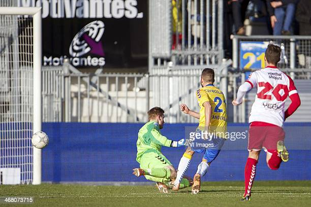 goalkeeper Robbin Ruiter of FC Utrecht Kenny Anderson of RKC Waalwijk Christian Dorda of FC Utrecht during the Dutch Eredivisie match between RKC...