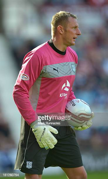 Goalkeeper Robert Douglas of Dundee during the Clydesdale Bank Scottish Premier League match between Hearts and Dundee at Tyncastle Stadium on...