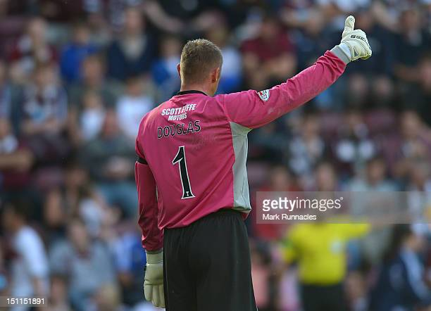 Goalkeeper Robert Douglas of Dundee signals during the Clydesdale Bank Scottish Premier League match between Hearts and Dundee at Tyncastle Stadium...