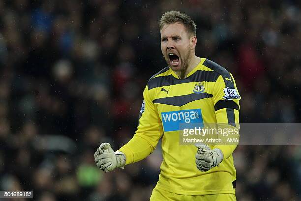 Goalkeeper Robert Elliot of Newcastle United celebrates as his side score a goal to make it 12 during the Barclays Premier League match between...