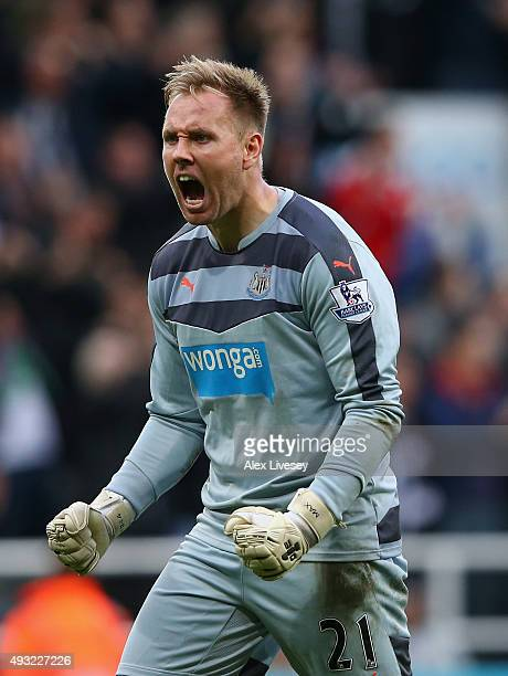 Goalkeeper Robert Elliot of Newcastle United celebrates during the Barclays Premier League match between Newcastle United and Norwich City at St...