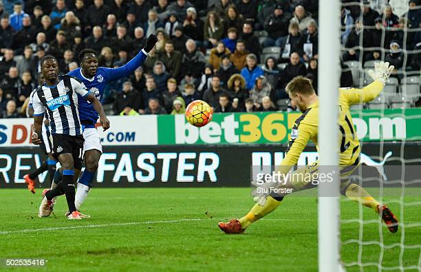 Goalkeeper Robert Elliot of Newcastle United makes a save to deny Romelu Lukaku of Everton during the Barclays Premier League match between Newcastle...