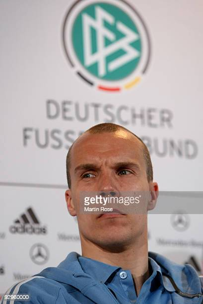 Goalkeeper Robert Enke attends the German national team press conference on March 27 2009 in Leipzig Germany Enke aged 32 the goalkeeper of Hanover...
