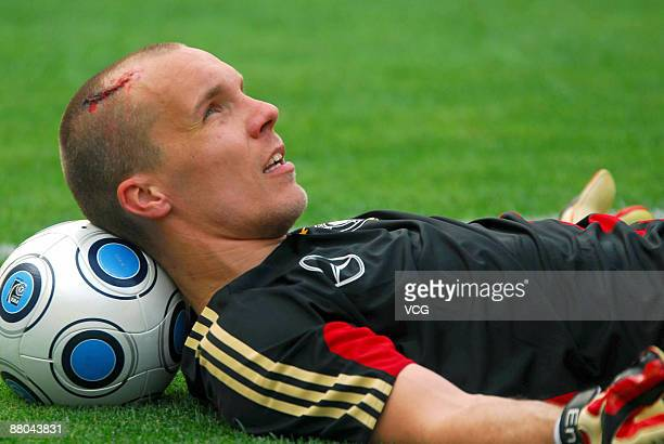 Goalkeeper Robert Enke is seen during the training session of the German national football team at the Shanghai stadium on May 28 2009 in Shanghai...
