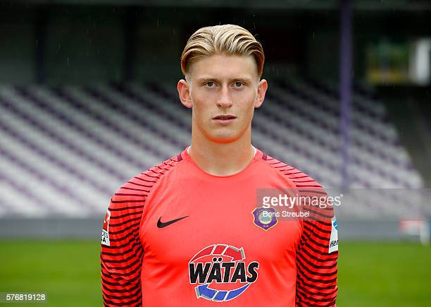 Goalkeeper Robert Jendrusch of Erzgebirge Aue poses during the FC Erzgebirge Aue Team Presentation at Sparkassenerzgebirgsstadion on July 17 2016 in...