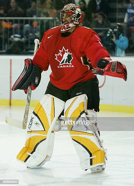 Goalkeeper Roberto Luongo of Canada plays during the men's ice hockey Preliminary Round Group A match between Finland and Canada during Day 9 of the...