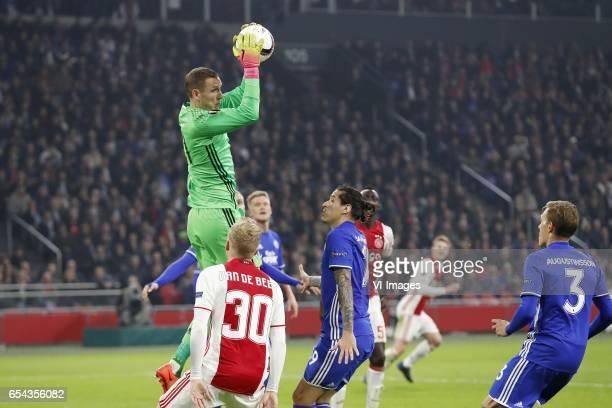 goalkeeper Robin Olsen of FC Copenhagen Donny van de Beek of Ajax Federico Santander of FC Copenhagen Davinson Sanchez of Ajax Matthijs de Ligt of...