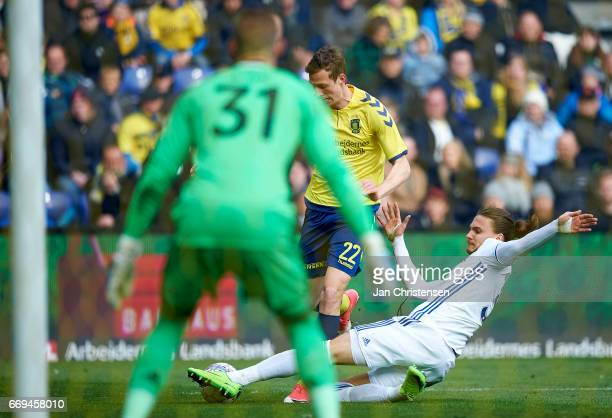 Goalkeeper Robin Olsen of FC Copenhagen Gustaf Nilsson of Brondby IF and Erik Johansson of FC Copenhagen in action during the Danish Alka Superliga...