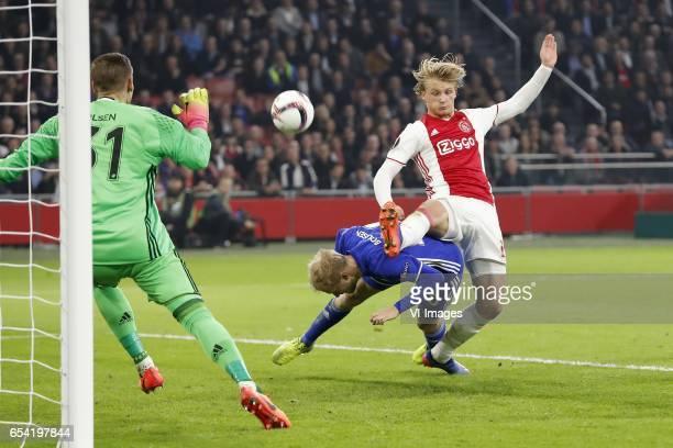 goalkeeper Robin Olsen of FC Copenhagen Nicolai Boilesen of FC Copenhagen Kasper Dolberg of Ajaxduring the UEFA Europa League round of 32 match...