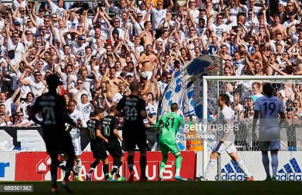 Goalkeeper Robin Olsen of FC Copenhagen saves a penalty kick from Pierre Kanstrup of Sonderjyske during the Danish Alka Superliga match between FC...