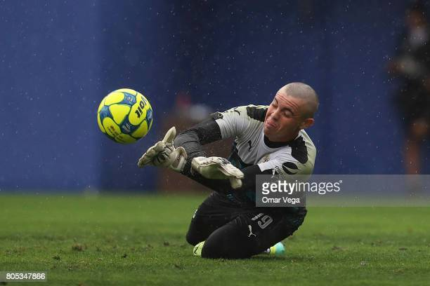 Goalkeeper Rodolfo Cota in action during a training session prior to a friendly match between Chivas and Santos at Cotton Bowl Stadium on July 01...