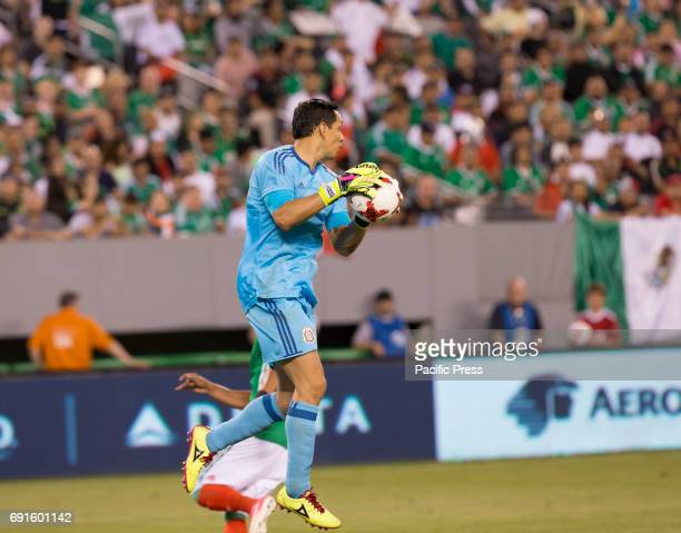 Goalkeeper Rodolfo Cota of Mexico saves goal during friendly game against Republic of Ireland at MetLife arena in Meadowlands Mexico won 3 1
