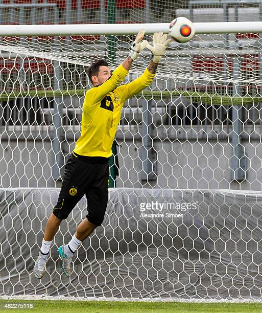 goalkeeper Roman Buerki during the training session on the ground of the Woerthersee Stadium during the UEFA Europa League Third Qualifying Round 1st...