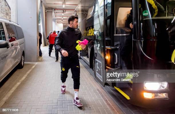 Goalkeeper Roman Buerki of Borussia Dortmund arrives prior to the UEFA Champions League Quarter Final First Leg match between Borussia Dortmund and...