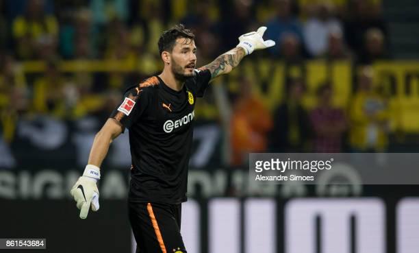 goalkeeper Roman Buerki of Borussia Dortmund during the Bundesliga match between Borussia Dortmund and RB Leipzig at Signal Iduna Park on October 14...