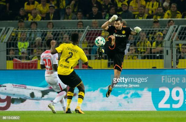 goalkeeper Roman Buerki of Borussia Dortmund during the Bundesliga match between Borussia Dortmund and RB Leipzig at Signal Iduna Park on October 14...