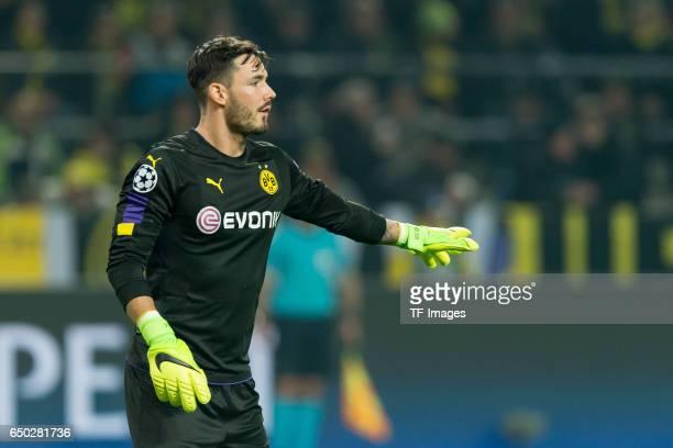 Goalkeeper Roman Buerki of Borussia Dortmund gestures during the UEFA Champions League Round of 16 Second Leg match between Borussia Dortmund and SL...