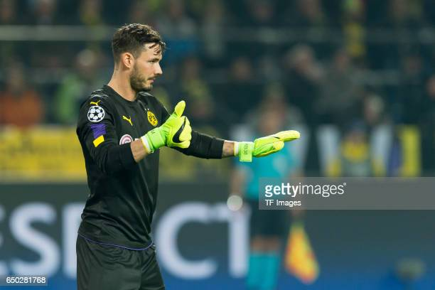 Goalkeeper Roman Buerki of Borussia Dortmund gestures during the UEFA Champions League Round of 16 Second Leg match between Borussia Dortmund and SL...