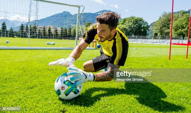 goalkeeper Roman Buerki of Borussia Dortmund in action during a training session as part of the training camp on July 30 2017 in Bad Ragaz Switzerland