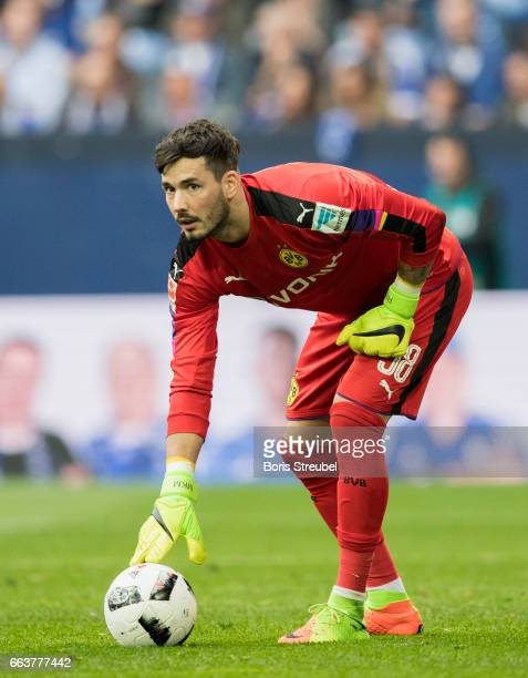 Goalkeeper Roman Buerki of Borussia Dortmund in action during the Bundesliga match between FC Schalke 04 and Borussia Dortmund at VeltinsArena on...