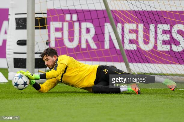 Goalkeeper Roman Buerki of Borussia Dortmund in action prior the training of Borussia Dortmund ahead of the UEFA Champions League Round of 16 second...