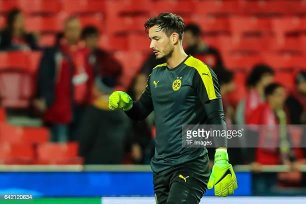 Goalkeeper Roman Buerki of Borussia Dortmund looks on before the UEFA Champions League Round of 16 First Leg match between SL Benfica and Borussia...