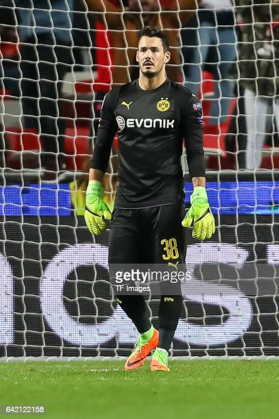 Goalkeeper Roman Buerki of Borussia Dortmund looks on during the UEFA Champions League Round of 16 First Leg match between SL Benfica and Borussia...