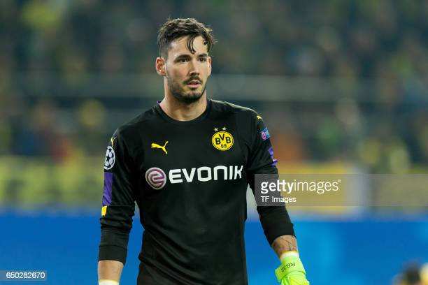 Goalkeeper Roman Buerki of Borussia Dortmund looks on during the UEFA Champions League Round of 16 Second Leg match between Borussia Dortmund and SL...