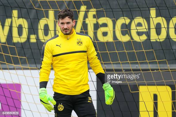 Goalkeeper Roman Buerki of Borussia Dortmund looks on prior the training of Borussia Dortmund ahead of the UEFA Champions League Round of 16 second...
