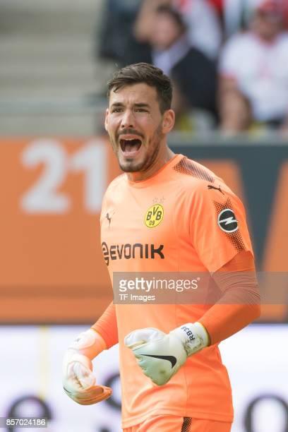 Goalkeeper Roman Buerki of Dortmund bruellt and looks on during the Bundesliga match between FC Augsburg and Borussia Dortmund at WWKArena on...