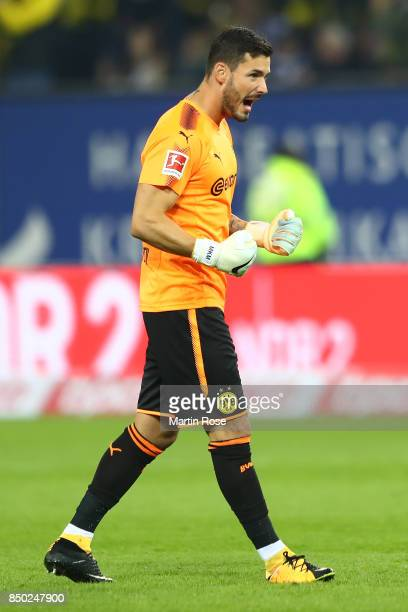 Goalkeeper Roman Buerki of Dortmund celebrates his teams second goal to make it 20 during the Bundesliga match between Hamburger SV and Borussia...