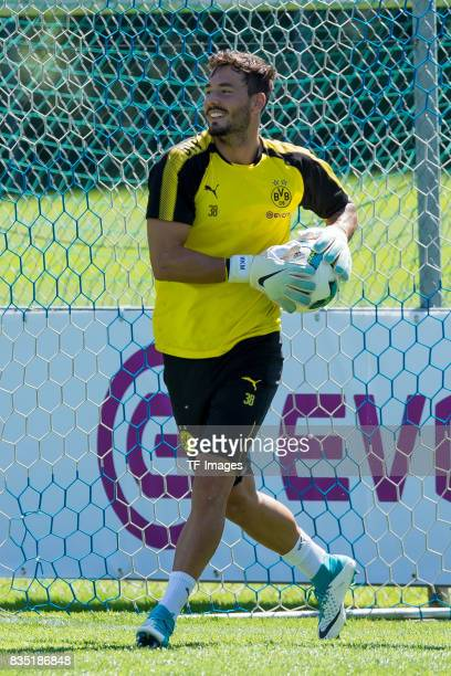 Goalkeeper Roman Buerki of Dortmund controls the ball during a training session as part of the training camp on July 30 2017 in Bad Ragaz Switzerland