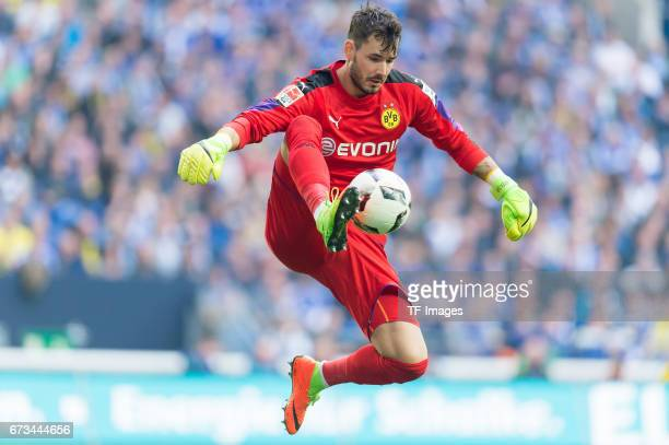Goalkeeper Roman Buerki of Dortmund controls the ball during the Bundesliga match between FC Schalke 04 and Borussia Dortmund at VeltinsArena on...