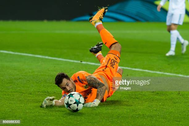 Goalkeeper Roman Buerki of Dortmund controls the ball during the UEFA Champions League group H match between Borussia Dortmund and Real Madrid at...