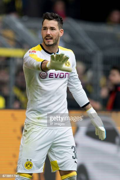 Goalkeeper Roman Buerki of Dortmund gestures during the Bundesliga match between Borussia Dortmund and Eintracht Frankfurt at Signal Iduna Park on...