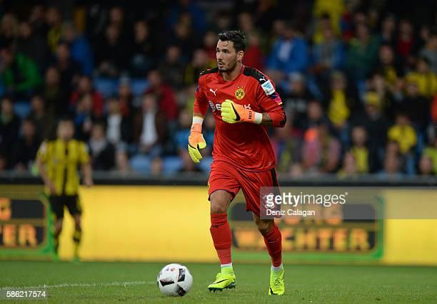 goalkeeper Roman Buerki of Dortmund handles the ball at Cashpoint Arena during the friendly match between AFC Sunderland v Borussia Dortmund on...