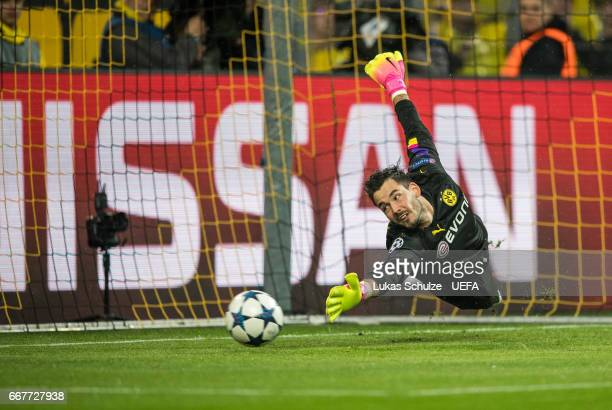 Goalkeeper Roman Buerki of Dortmund looks after the ball after a penalty of Monaco during the UEFA Champions League Quarter Final first leg match...