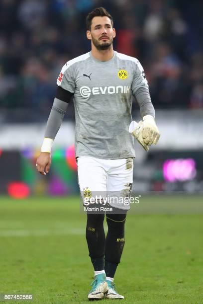 Goalkeeper Roman Buerki of Dortmund looks dejected after the Bundesliga match between Hannover 96 and Borussia Dortmund at HDIArena on October 28...