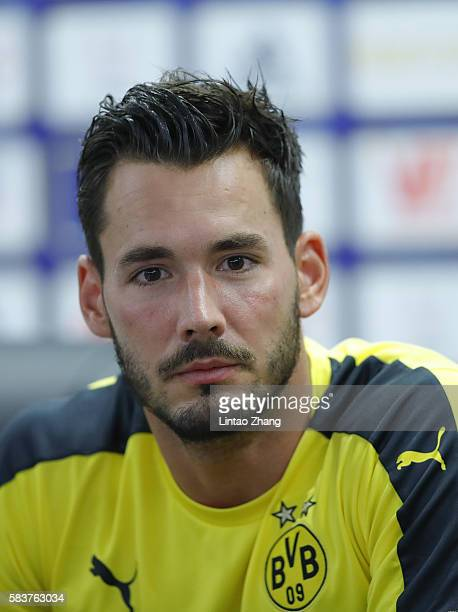 Goalkeeper Roman Buerki of Dortmund looks on during a press conference for 2016 International Champions Cup match between Manchester City and...